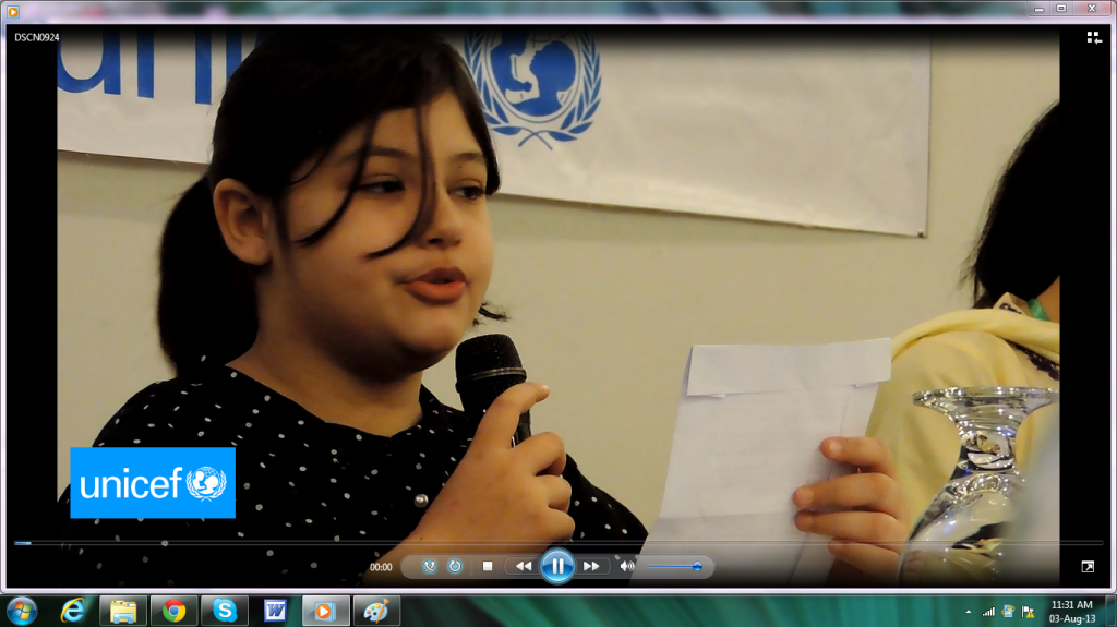 Amal giving recommendations at a UNICEF Consultative Session